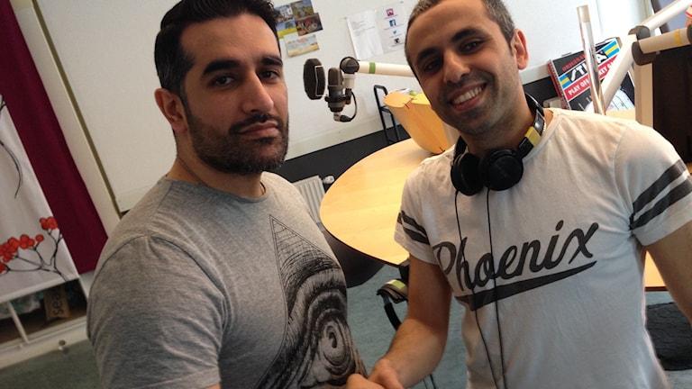 Beston Kalefa och Jaber Fawaz i P4 Örebro-studion.