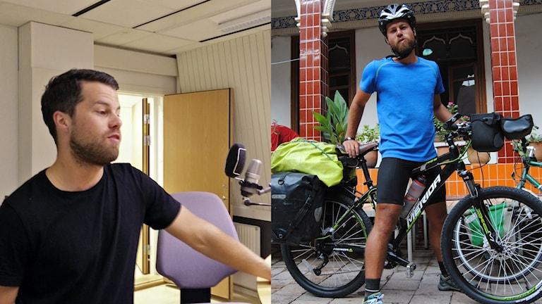 Två bilder i ett collage. På den ena står Calle i studion, på den andra bilden står han framför sin cykel på den förra resan.
