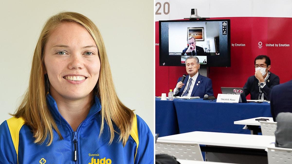 Anna Bernholm i judolandslagets dress Bild 2 Presskonferens med IOK och Japans olympiska kommitté