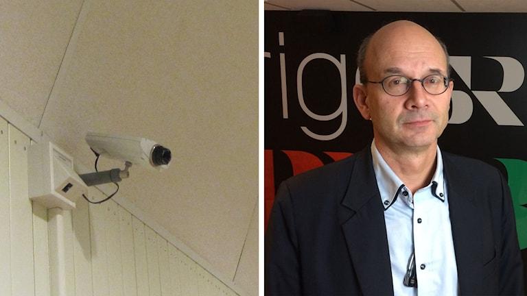 En övervakningskamera jämte en bild på Mats Brantsberg, säkerhetschef på Örebro kommun.