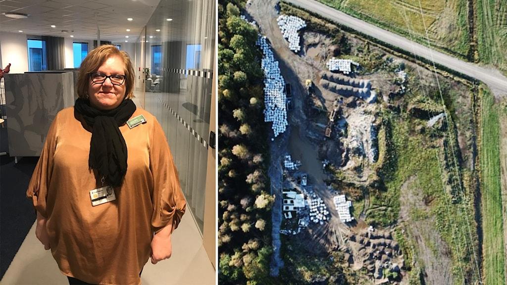 Johanna Elfving tittar in i kameran, i andra bilden är en drönarbilden av platsen i Örebro.