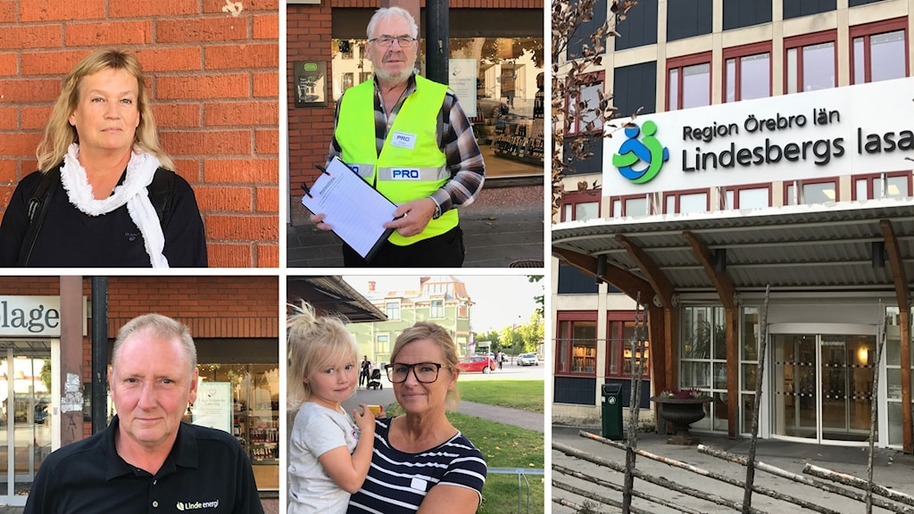 Fyra bilder på allmänhet i Lindesberg och en bild på entrén till Lindesbergs lasarett.