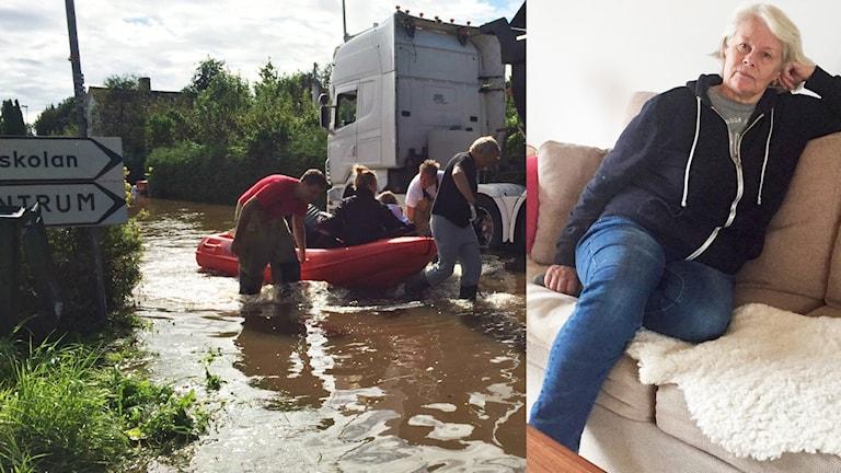 Elisabeth sitter i sin soffa, till höger ser vi en genrebild på när översvämningarna var som värst i Hallsberg.