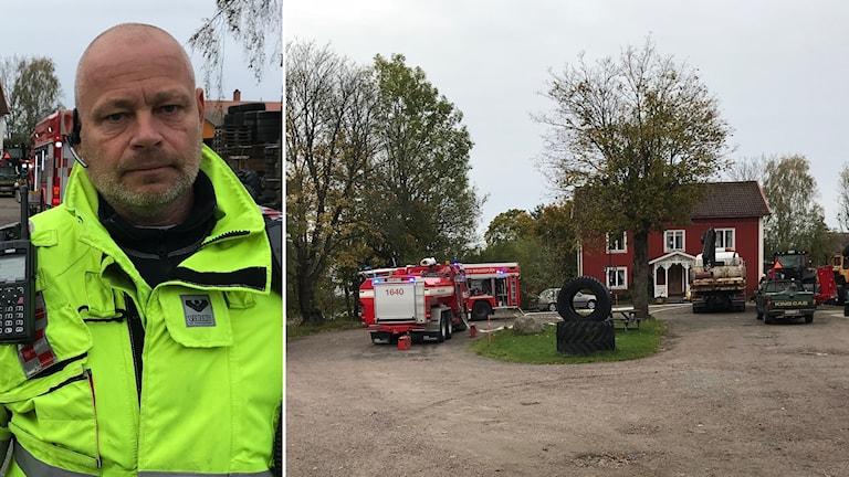 Insatsledare Peter Svensson. Räddningstjänsten fick rycka ut till Fjugesta under torsdagsmorgonen till en befarad brand i en gummiverkstad.
