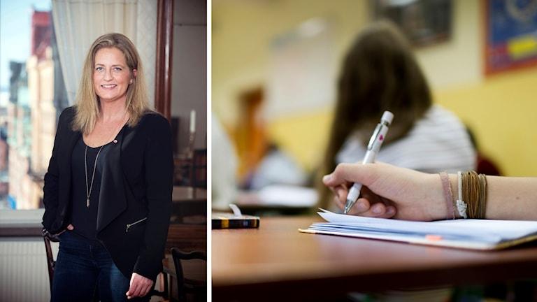 Jessica Ekebring, Socialdemokratiskt kommunalråd till vänster. Bild på hand i skolmiljö till höger.