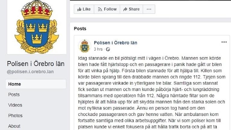 Ett inlägg från Polisen på Facebook