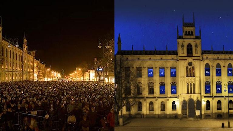 Bild på Rådhuset som adventskalender och Stortorget vid O, Helga Natt
