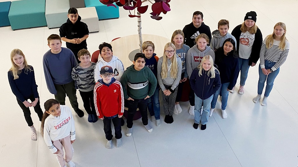 18 elever i klassen står på ett golv och tittar in i kameran.