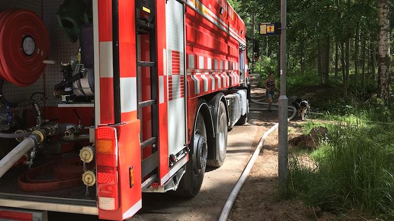 Brandmän brand skogsbrand Brickebacken Saxonskogen