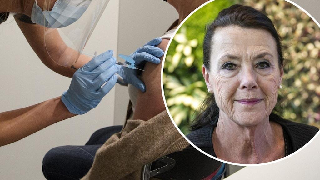 Bild 1 äldre kvinna får vaccin av vårdpersonal bild 2 visar inger nordin olsson