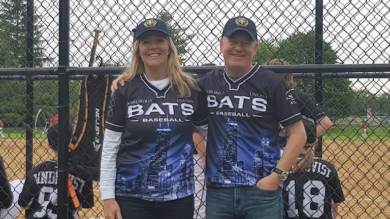 Anna Ragén, fullmäktigeordförande och Tony Ring vid baseballmatchen i Wheaton.