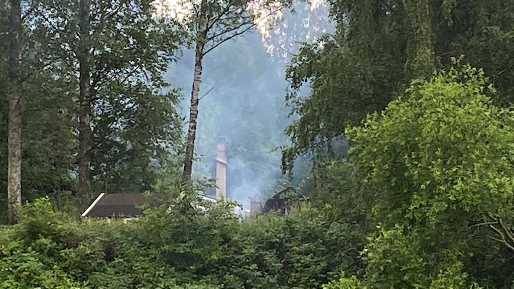 Rök från en villa i skogen.