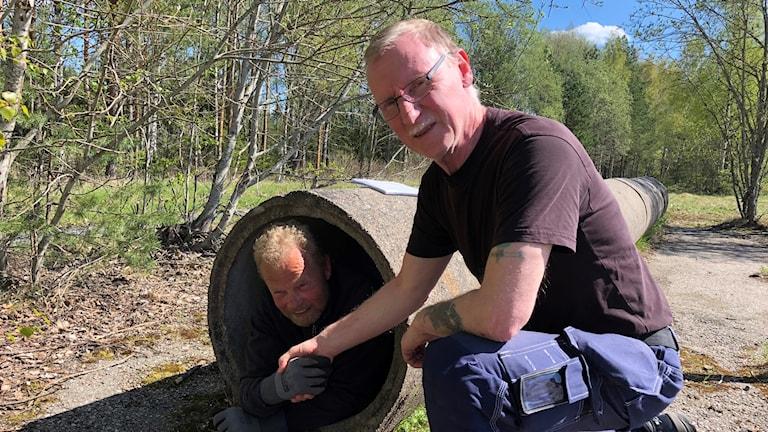 Hans Andersson som med hjälp av vännen Leif Karlsson kryper igenom ett avloppsrör.