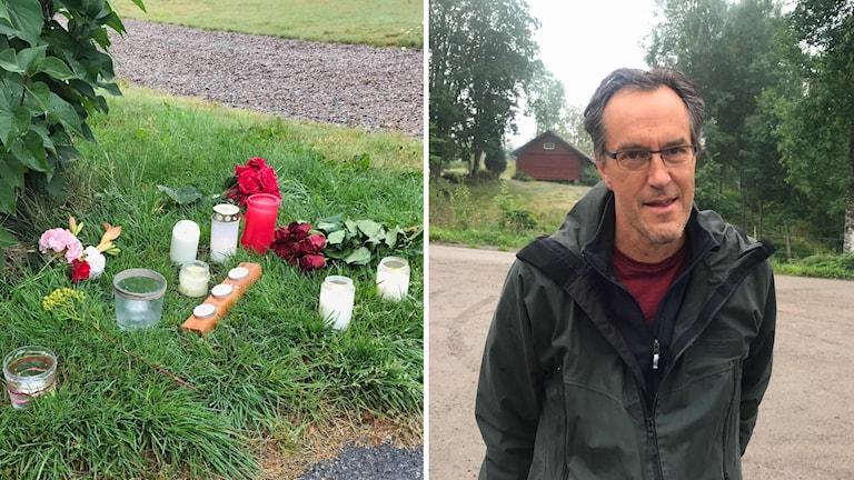 två personer döda Laxå, tända ljus, blommor, kommunchef