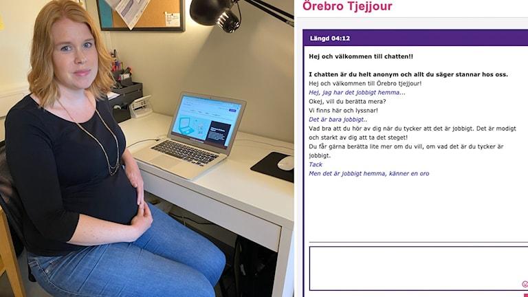 Bild på jourchatt, samordnare Victoria Bäcklinn vid sitt skrivbord