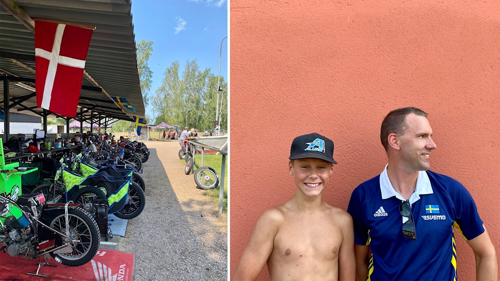 Speedway-cyklar vid Glottra Skog Arena. Anton Jansson och Rickard Jansson