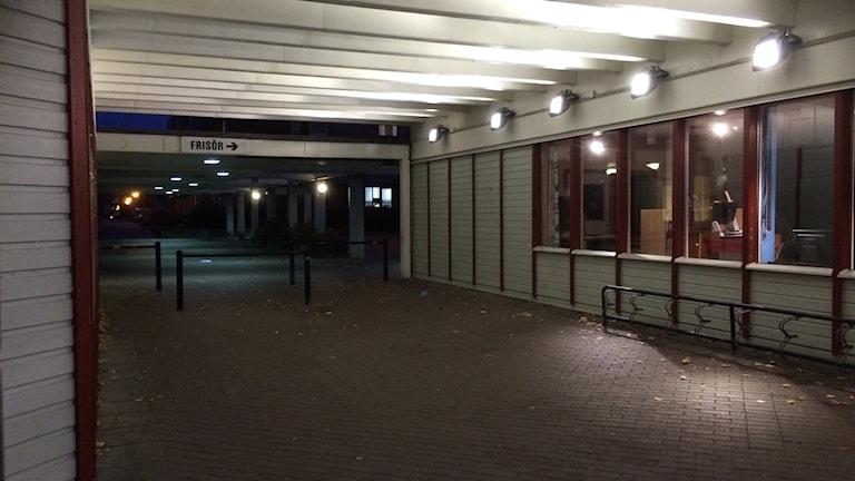 Passage mellan centrum och torget i Varberga.