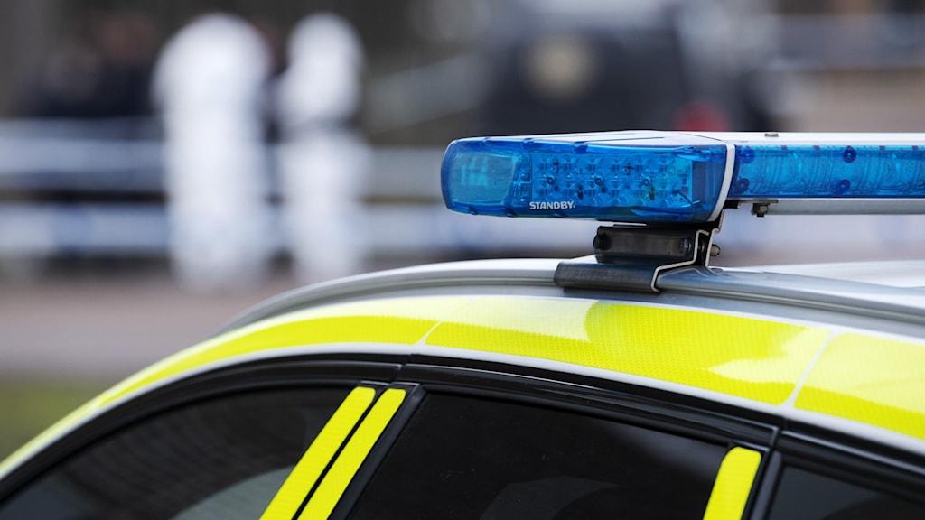 Blåljus på en polisbil i närbil. Foto: Johan Nilsson/TT