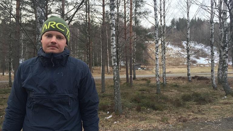 Erik Fors sov i ett vindskydd vid Digerberget natten till torsdag.