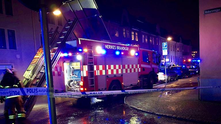 Samtliga i trappuppgången fick evakueras vid branden.