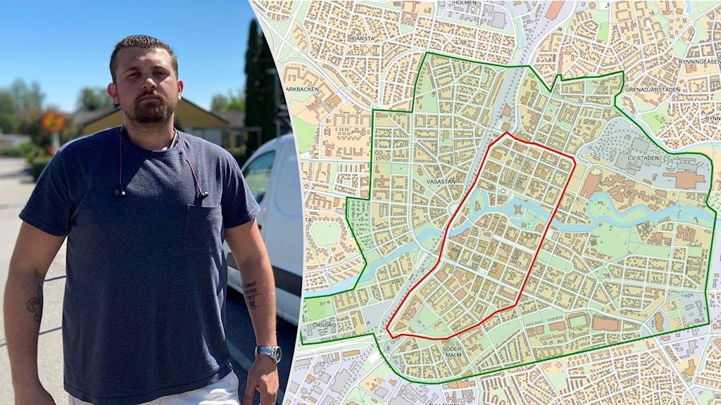 Daliz Kovacevic och en karta av centrala Örebro