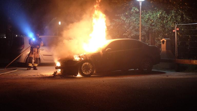 Bilbrand på Alnängsgatan.