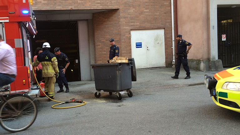 Brand i sopkärl Klostergatan