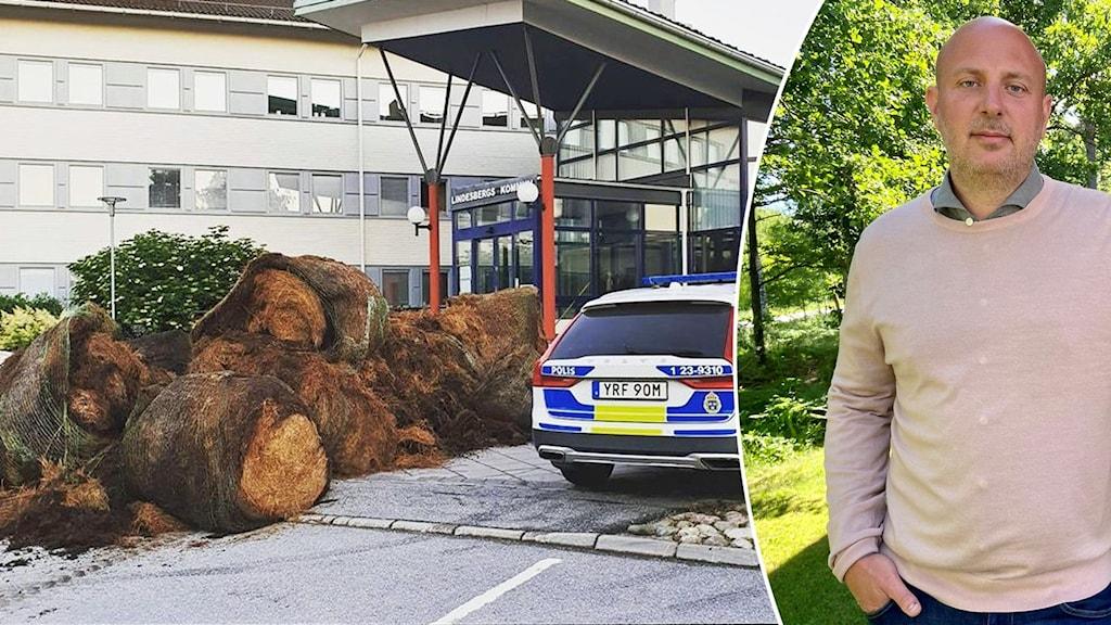 Höbalar utanför kommunhuset i Lindesberg, Ola Westin, chef för samhällsbyggnad Bergslagen.