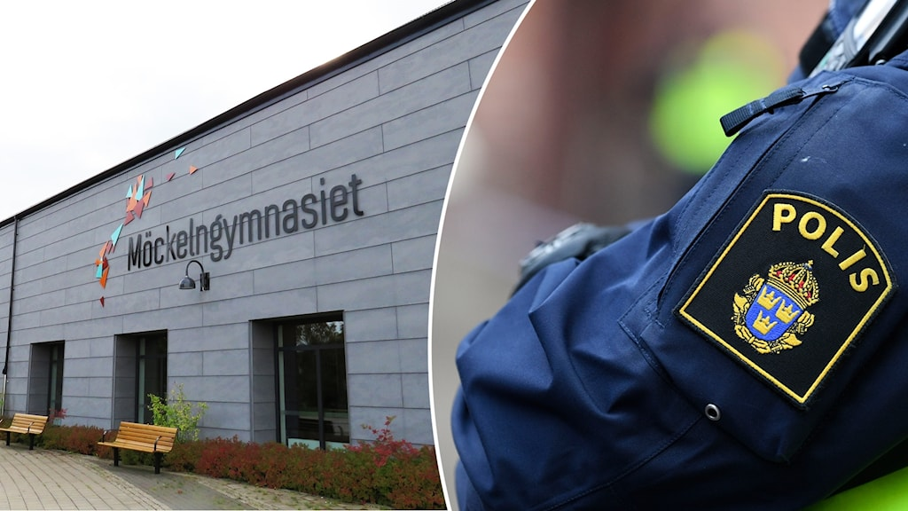 Möckelngymnasiet i Karlskoga och en polisarm i uniform.