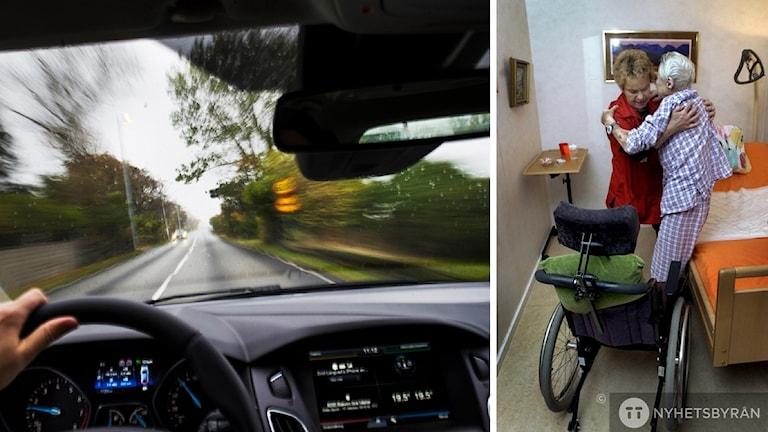 Bil kör fort och till höger syns hemtjänstpersonal som hjälper äldre ur sängen.