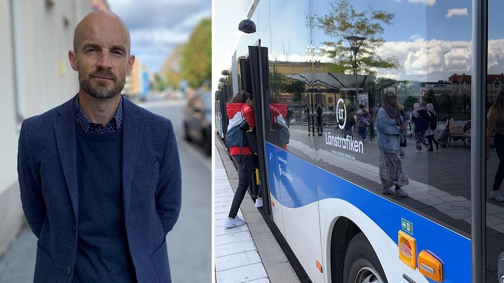 Bild 1 Fredrik Eliasson, kollektivtrafikchef Bild 2 länsbuss vid busshållplats i örebro med stängd framdörr