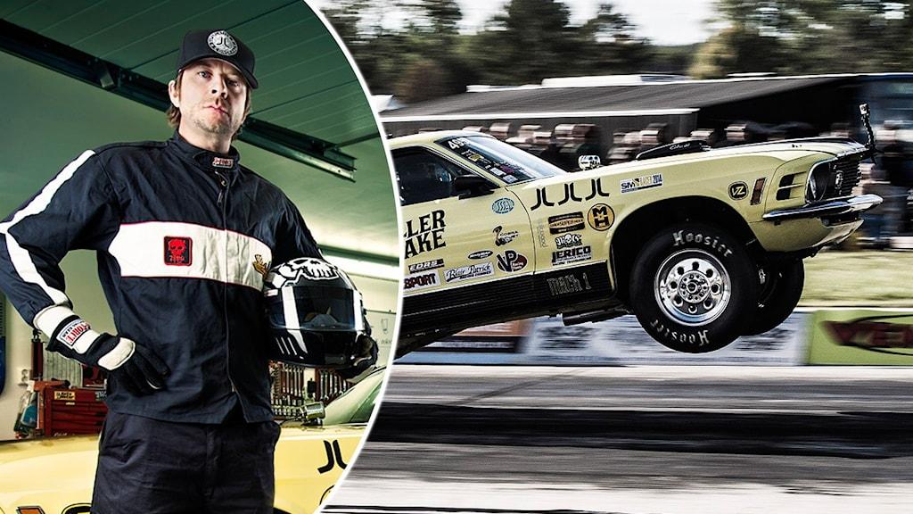 Mathias Färm i racingkläder + dragracingbil