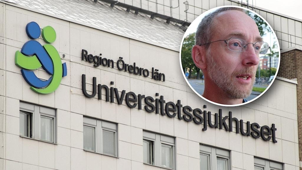 Bild på universitetssjukhuset och en inklippt man (Jonas Ludvigsson).