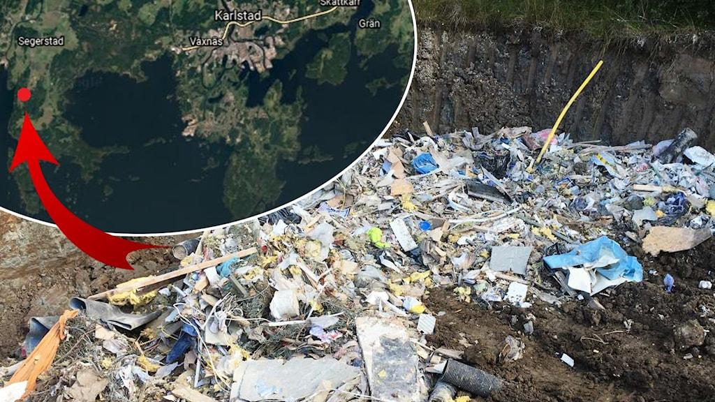 Upp mot 180 ton byggavfall har dumpats vid Stora Abbortan i Vålberg i Karlstad kommun.