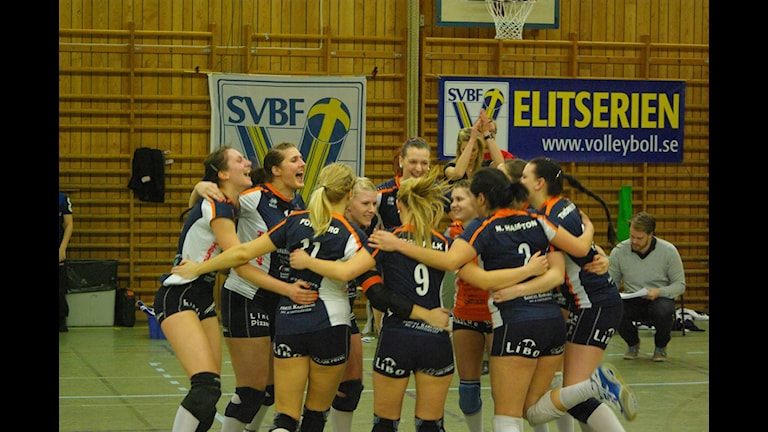 Segerjubel i Linde volley. Foto:Henrik Andersson/SR Örebro.