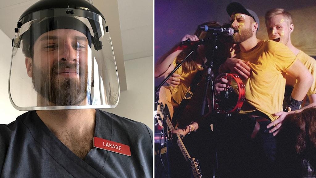 Bild på Axel Öberg, som är sångare i bandet.