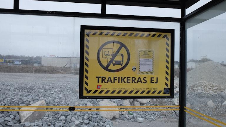 Skylt, eurostop, busshållplats