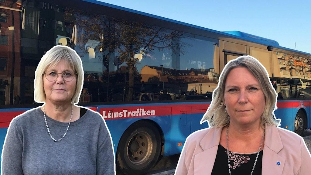 Bild 1 Elisabeth Eriksson-Högberg. Bild 2 politiker Marlene Jörhag. I bakgrunden en av länstrafikens bussar