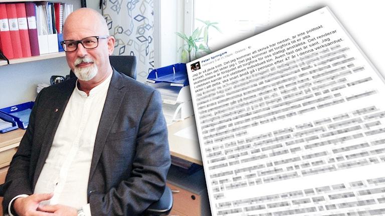 Polisen Peter Springare har skrivit ett inlägg på sin Facebooksida som skapat debatt.