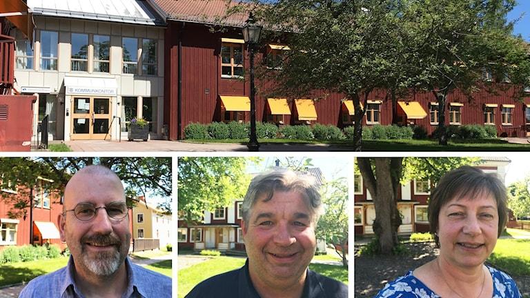 Kollage, politiker i Ljusnarsberg. Fv: Hendrik Bijloo (L), Mats Larsson (SD) och Ewa-Leena Johansson (S). Övre bilden är kommunhuset