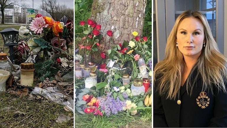 Minnesplatser blommor mord paulina wånggren