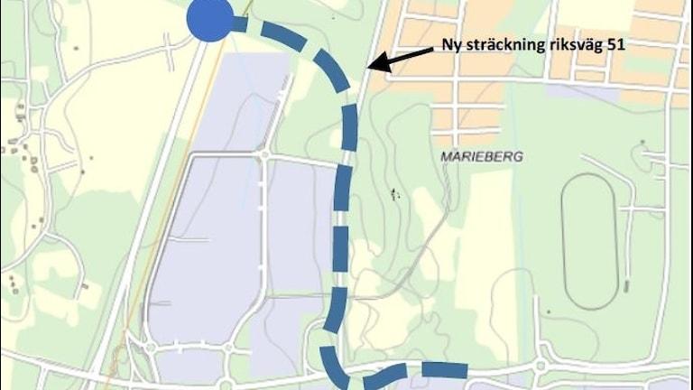 Ny riksväg 51 genom Marieberg.