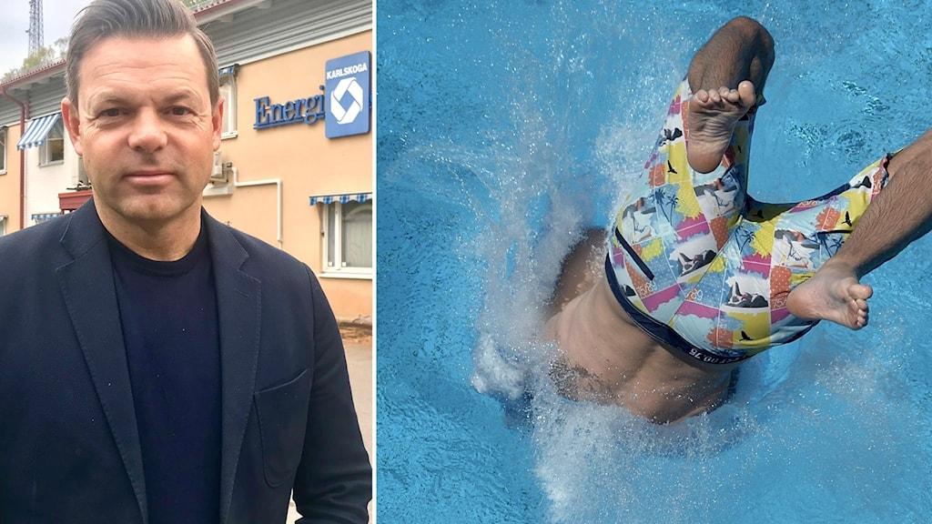 Peter Jarl står utanför Karlskoga energi och miljös kontor. I andra bilden syns en ung man hoppa in i en pool.