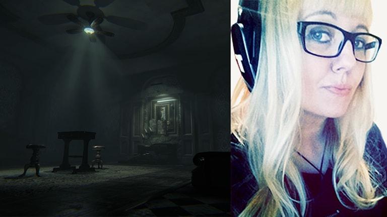 Ida Alander från Kumla bredvid en bild från spelet Layers of fear.