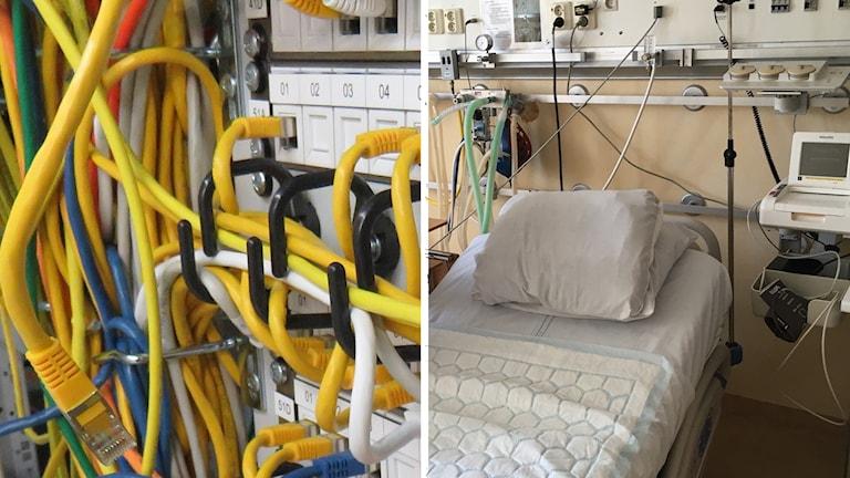 IT-kablar och sjukhussäng