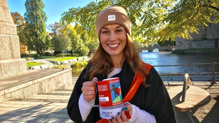 Irma Muftic, en av insamlarna till Världens barn från Karolinska gymnasiet.