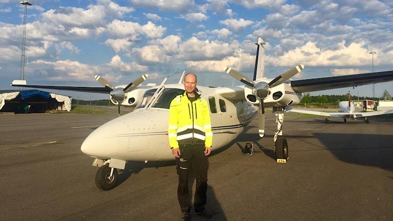 Mats Olsson vid SGU som ansvarar för de geologiska mätningarna i länet.