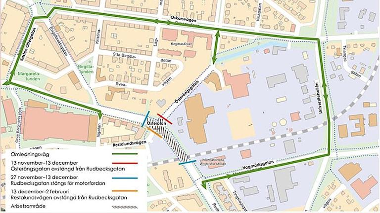 Rudbecksgatan i Örebro stängs av p g a VA-arbete