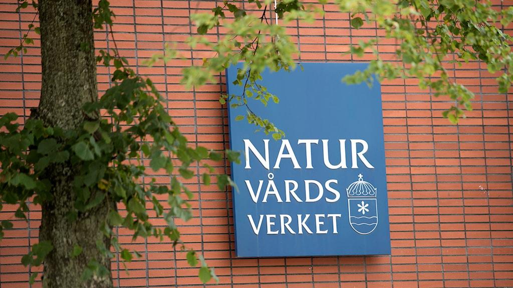 Den blå naturvårdsverket-loggan mot tegelröd husfasad