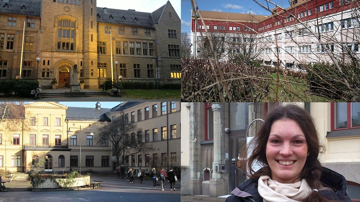 Fasaderna på Rudbeckskolan, Virginska skolan och Karolinska skolan samt bild på Elisabeth Malmqvist, C.